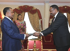 H.E. Lt. Gen. (rtd) Paul Ignace Mella presenting letters of credence to H.E. Denis Sassou Nguesso, President of the Republic of Congo